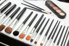 Make-up brushes on towel Royalty Free Stock Photography
