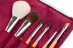 Make up brushes in a vinous case shot. Make up brushes of different size and type in a vionous case object isolated shot on white stock image