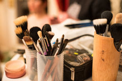 Make-up brushes during work process Royalty Free Stock Photos
