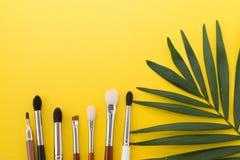 Make up brushes isolated on white. make up background. black brushes stock photography