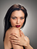Make up charming model portrait. red lips Royalty Free Stock Images