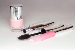Make-up colection. Mascara, lip-gloss, nail polish Stock Photography