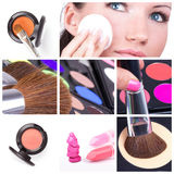Make-up collage. Make-up tools Stock Photos