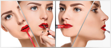 The make-up collage. Professional details Royalty Free Stock Images