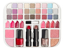 Make-up collection with lipstick and blush palette. Isolated on white Royalty Free Stock Images