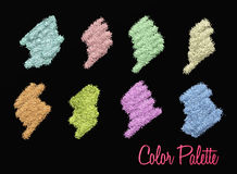 Make up color palette. Colorful glitter palette in black background stock illustration