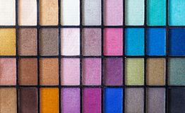 Make up color pallet with nice details over the various colors royalty free stock photography
