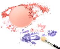 Make up color powder and blush on white background Royalty Free Stock Photos