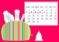 Make up colorful bag with menstruation sanitary pads and cotton tampons, and a calendar with blood drops. Hygiene protection for w. Oman critical days royalty free illustration
