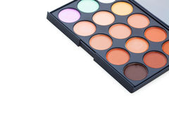 Make-up colorful eye shadow palettes isolated on white background Stock Images