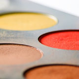 Make up colorful eyeshadow palette - low angle Stock Photos