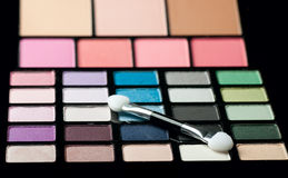 Make-up colorful eyeshadow palettes close up Stock Photos
