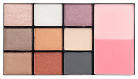 Make-up colorful eyeshadow palettes isolated on white clipping path. Royalty Free Stock Photo