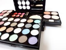 Make-Up Colorful Eyeshadow Palettes !!. Make-up colorful eyeshadow palettes  on white background stock images