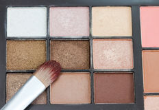Make-up colorful eyeshadow palettes with makeup brushe. Royalty Free Stock Image