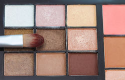 Make-up colorful eyeshadow palettes with makeup brushe. Royalty Free Stock Photography
