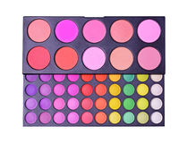 Make-up colorful eyeshadows and blushes palettes Royalty Free Stock Photo