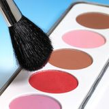 Make-up colors and brush Stock Image