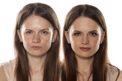 Before and after make up Stock Image