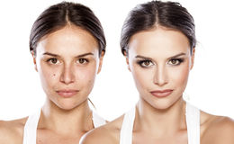 Before and after make up Stock Images