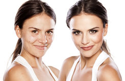 Before and after make up Royalty Free Stock Photography