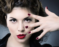 Make up concept. Beauty woman face Stock Photos