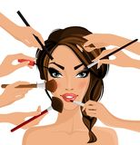 Make up concept. Many hands with cosmetics brush doing make up of glamour girl vector illustration stock illustration
