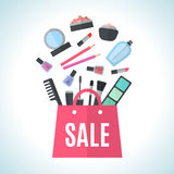 Make up concept vector flat illustration Royalty Free Stock Images