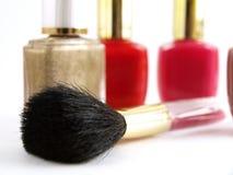Make up Cosmetic. Nail Polishes and Make up Brush. Focus on blush brush bristles Stock Photo