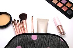 Make up Cosmetics bag and set of professional decorative, makeup tools and accessory on white background. beauty, fashion and stock images