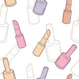 Make up cosmetics color seamless pattern sketch illustration Royalty Free Stock Photos