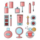 Make up and cosmetics pink  set. Background fashion Royalty Free Stock Images