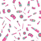 Make up cosmetics seamless pattern in bright girlish colors. Make up artist objects. Cosmetics set. Royalty Free Stock Images