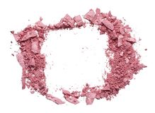 Make up crushed eyeshadow, blush or powder. Make up crushed pink eyeshadow, blush or powder on white background stock photo