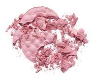 Make up crushed eyeshadow, blush or powder. Make up crushed pink eyeshadow, blush or powder on white background stock photos