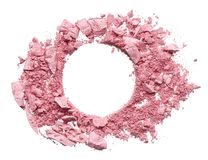 Make up crushed eyeshadow, blush or powder. Make up crushed pink eyeshadow, blush or powder on white background royalty free stock image