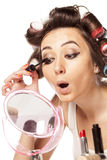 Make up and curlers Stock Photos
