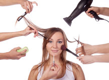 Make-up, cut, many hands Stock Images