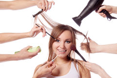 Make-up, cut, many hands Stock Image