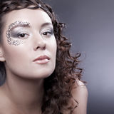 Make-up with elements of face-art Stock Image
