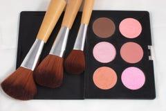 Make-up en borstels Stock Foto