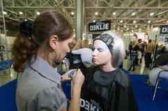 Make-up en haar de kunstenaarsconcurrentie Royalty-vrije Stock Foto's