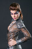 Make-up en haar de kunstenaarsconcurrentie Stock Foto