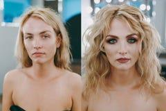 Make-up en kapsel voor het meisje vóór en na royalty-vrije stock fotografie