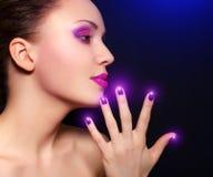 Make-up en manicure royalty-vrije stock fotografie