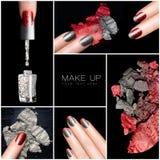 Make-up en Spijker Art Trend De reeks van de manicure Royalty-vrije Stock Foto's