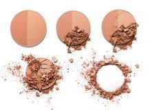 Make up esmagou o pó bicolor Fotos de Stock
