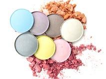 Make up esmagou o pó colorido Foto de Stock