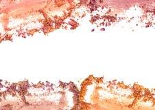 Make up esmagou o quadro da cor do pó no fundo branco Fotos de Stock Royalty Free