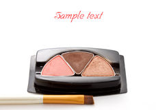 Make up eye shadow and make up brush Stock Image
